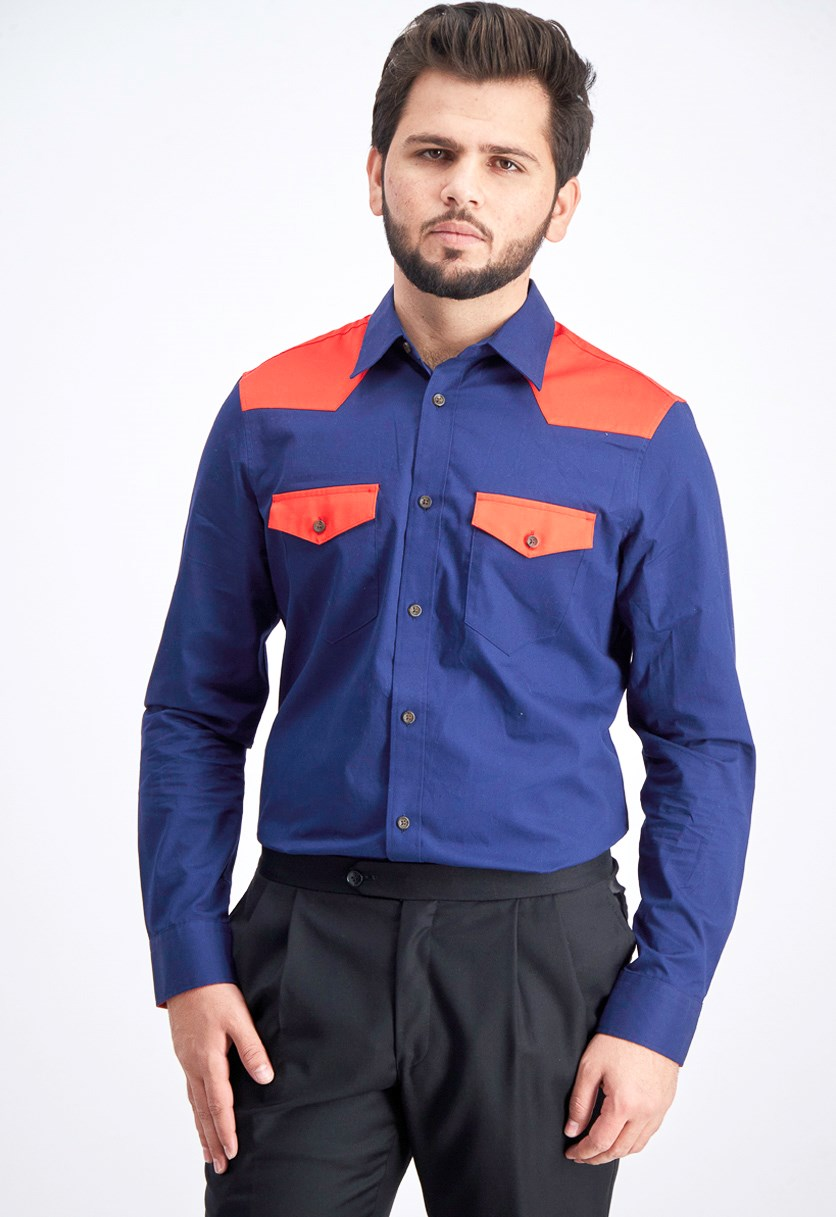Men's Slim-Fit Twill Western Shirt, Navy/Red
