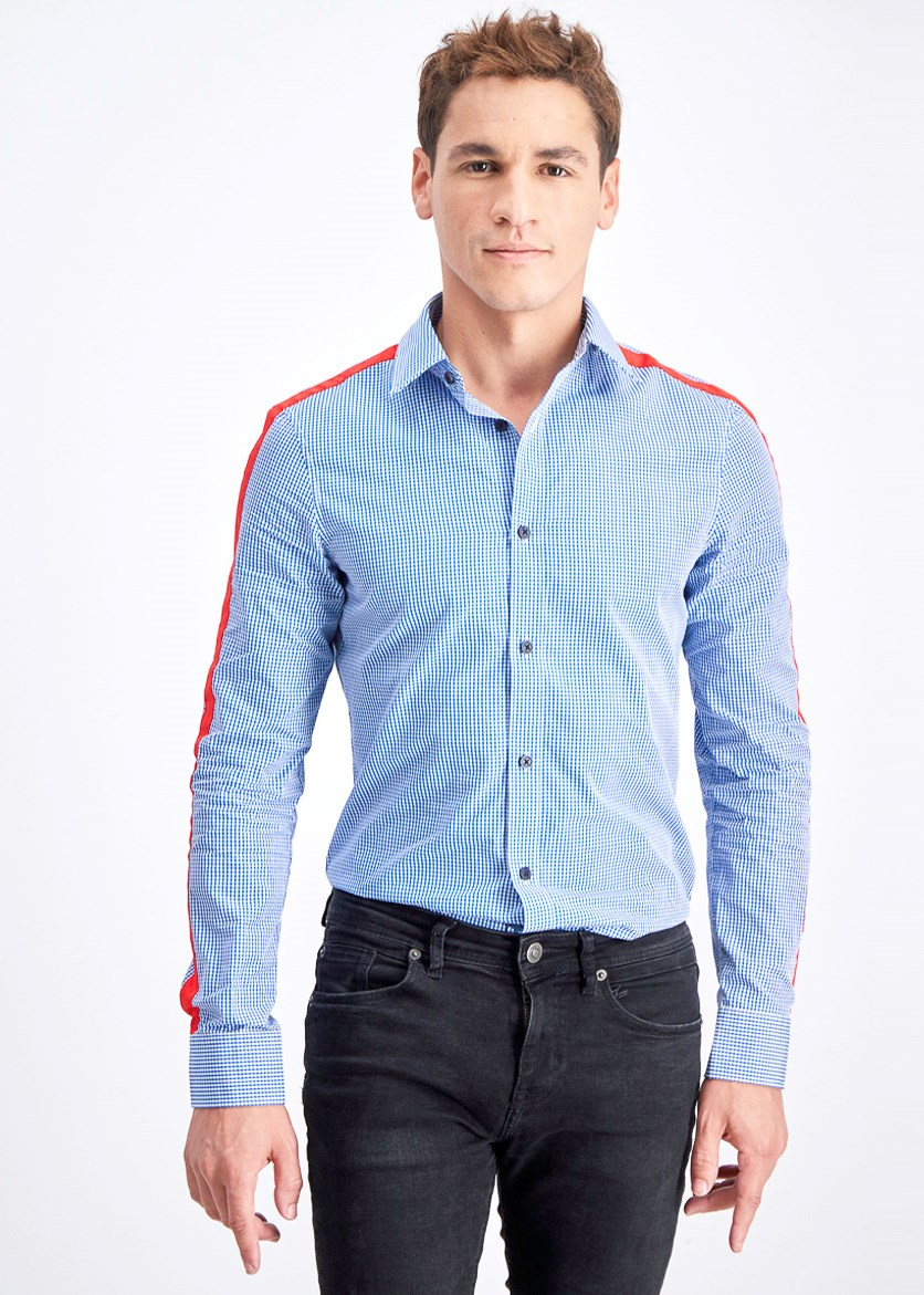 Men's Slim-Fit Gingham Check Taped Shirt, Nocturnal/Blue