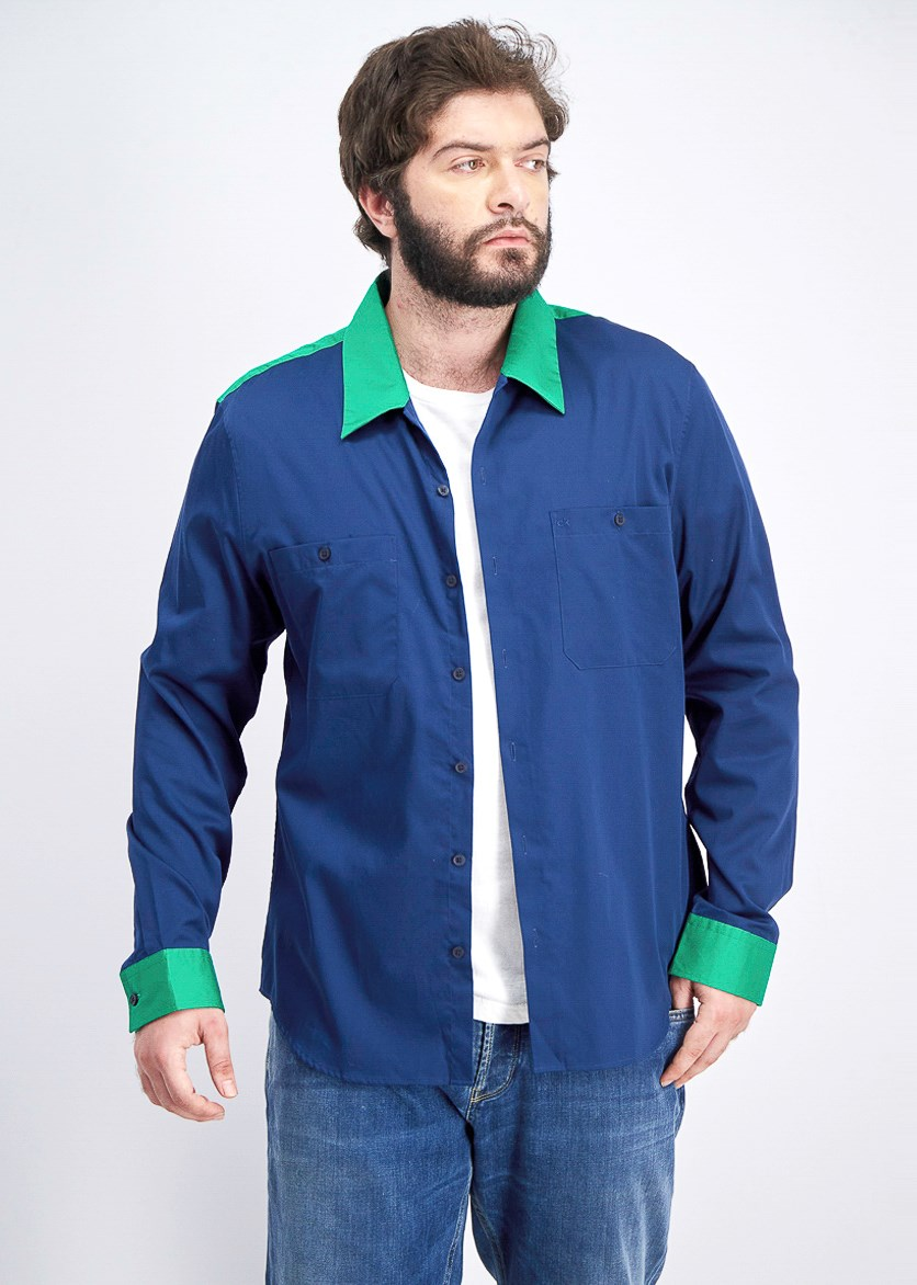 Men's Slim-Fit Colorblocked Garage Shirt, Faded Cadet