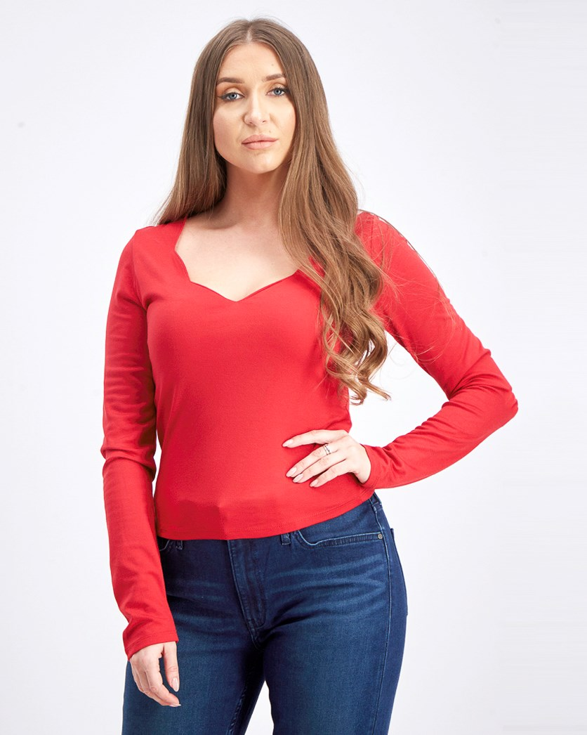 Women's T-shirt with Wavy Neckline, Red