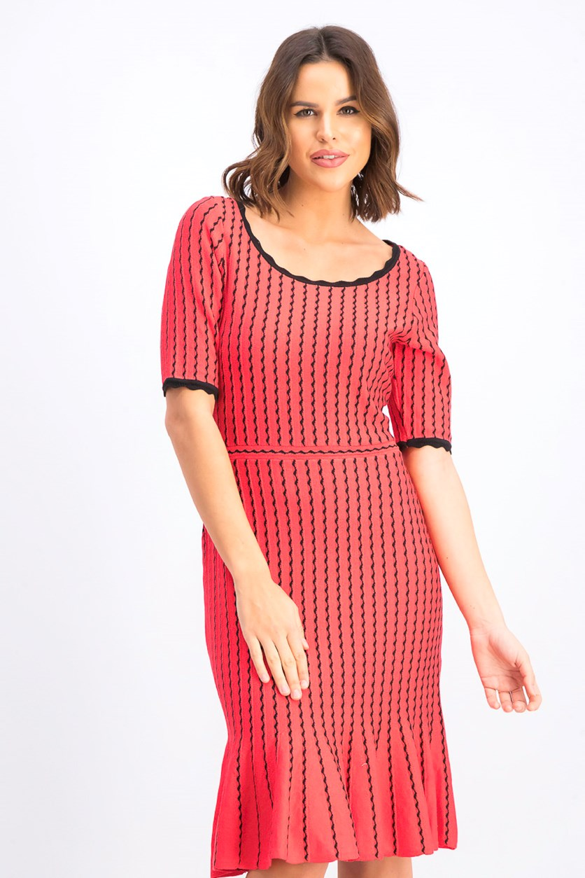 Women's Elbow-Sleeve Ribbed Sweater Dress, Red/Black