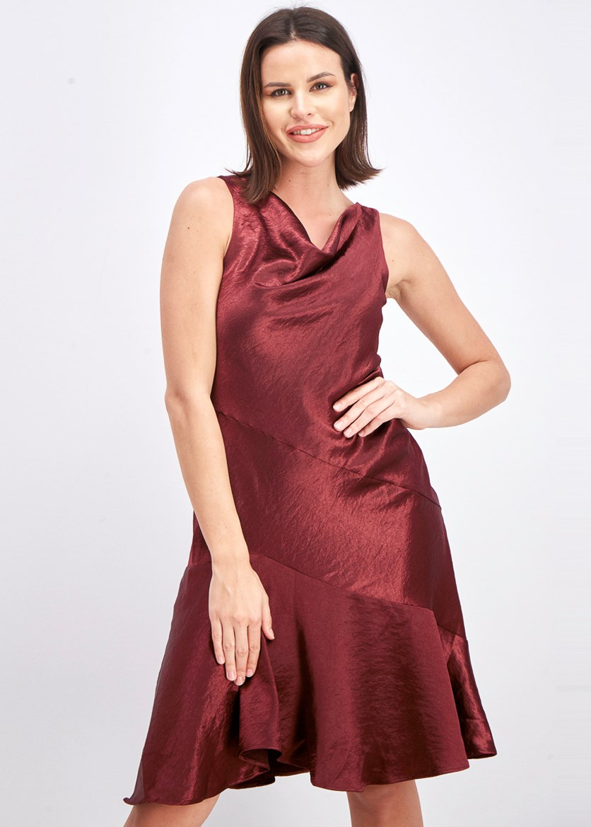 Women's Asymmetrical Satin Slip Dress, Burgundy
