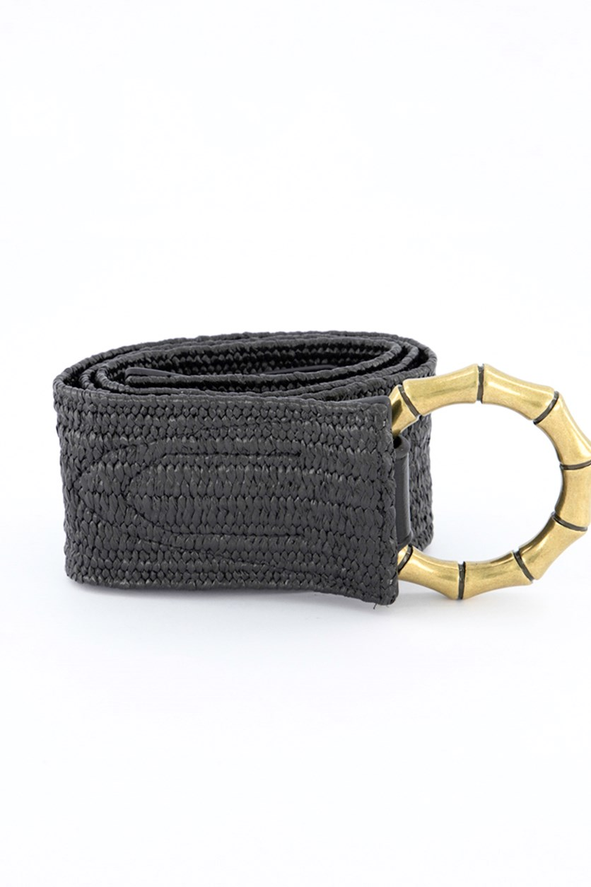 Women's Bamboo Buckle Faux Leather Stretch Belt, Black/Gold