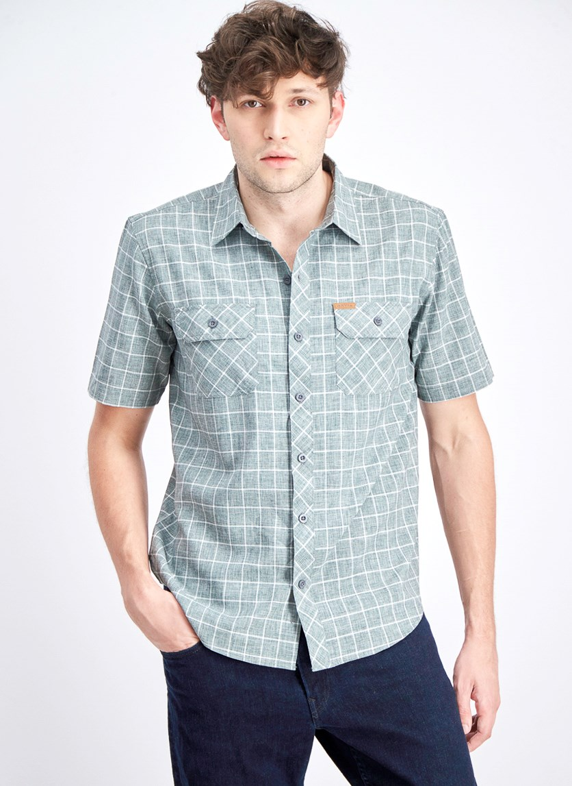 Men's Windowpane Check Shirt, Grey
