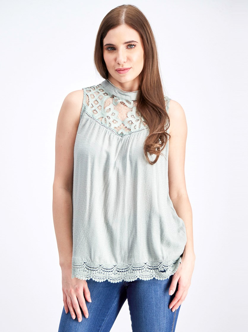 Women's Lace Sleeveless Top, Light Green
