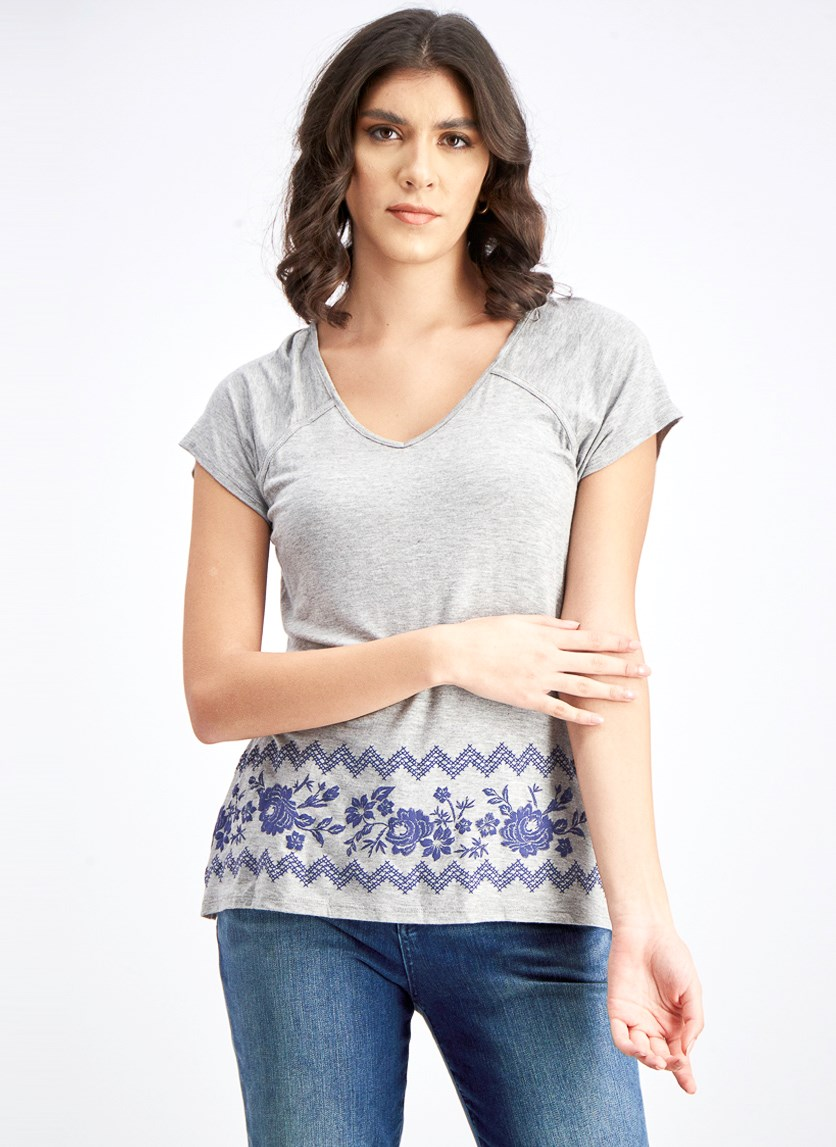Women's V-Neck Top, Grey