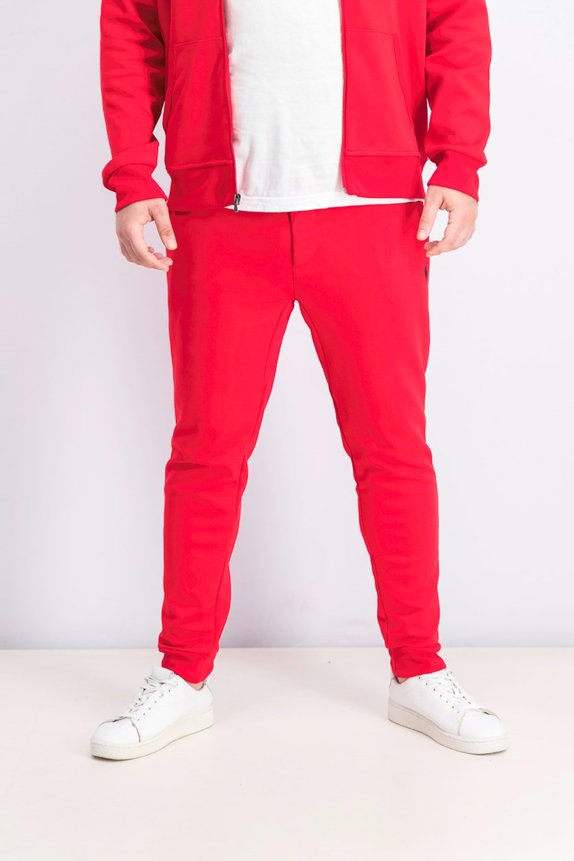 Men's Embroidered Logo Sweatpants, Red