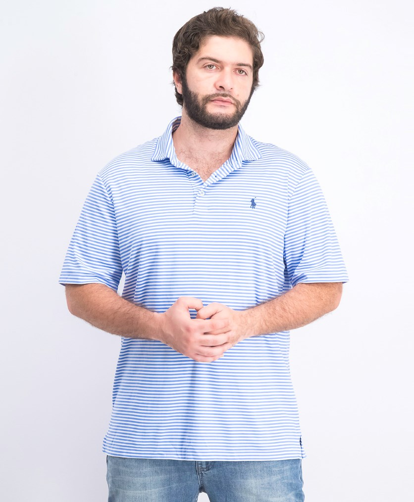 Men's Short Sleeve Classic Fit Soft Touch Polo, Blue/White