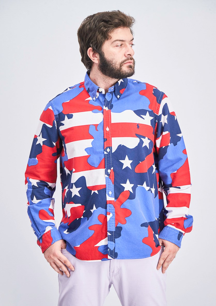 Men's Long Sleeve Shirt, Blue/Red