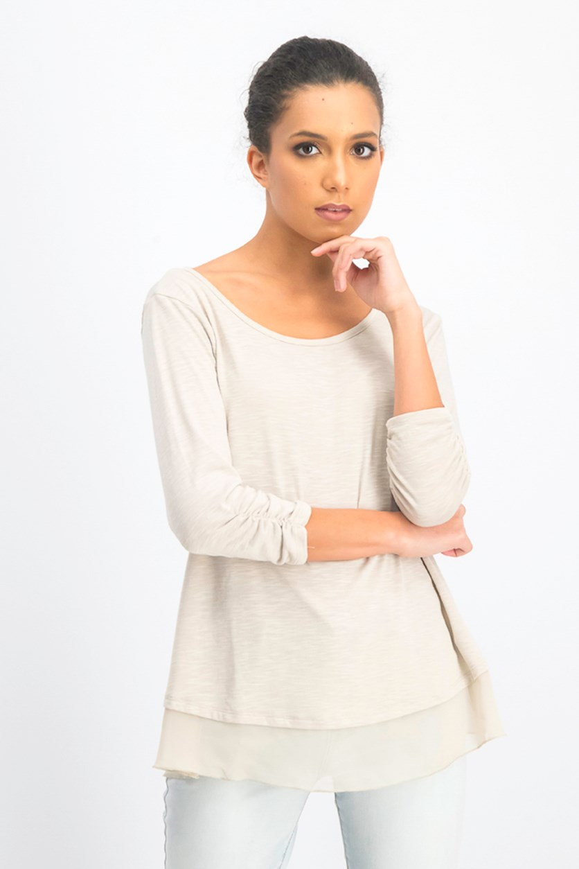 Women's Chiffon-Hem Three-Quarter-Sleeve Top, Beige