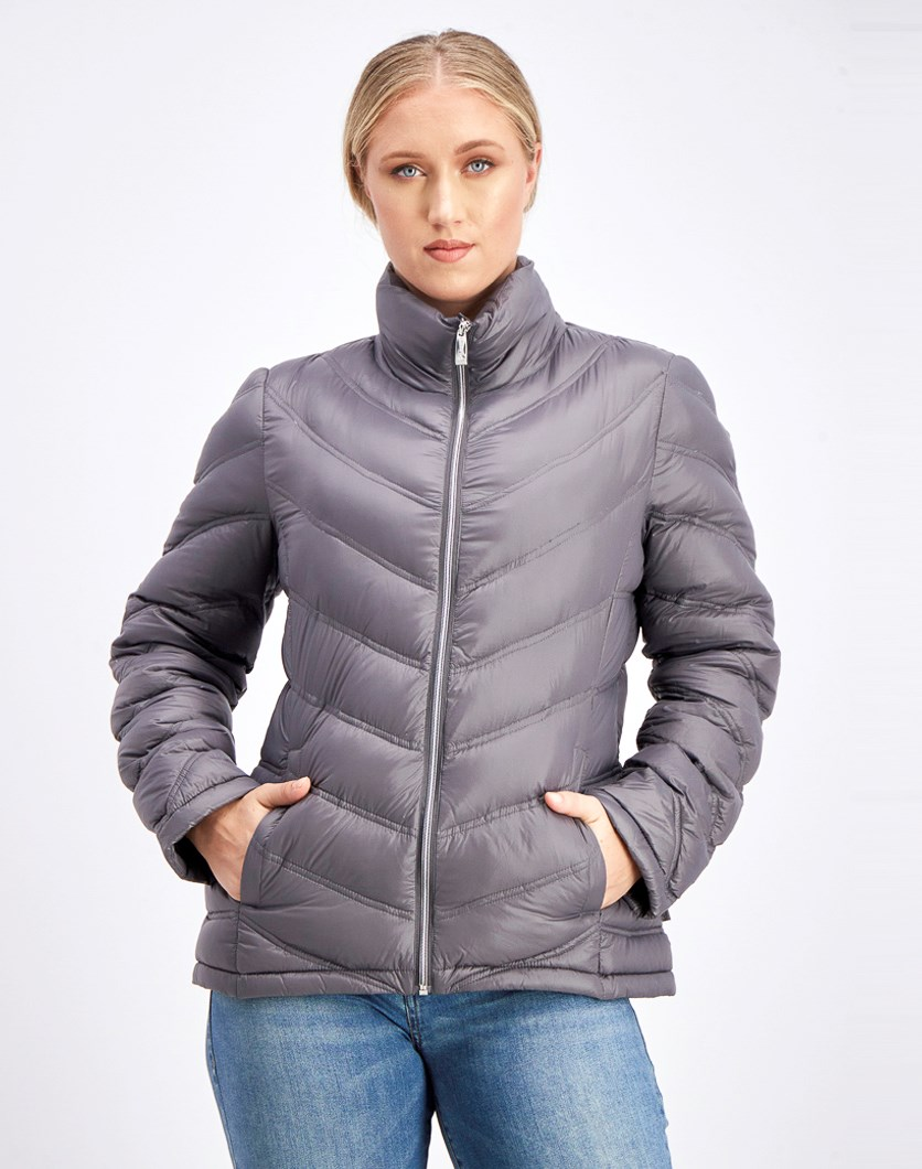 Women's Lightweight Chevron Packable Jacket, Titanium