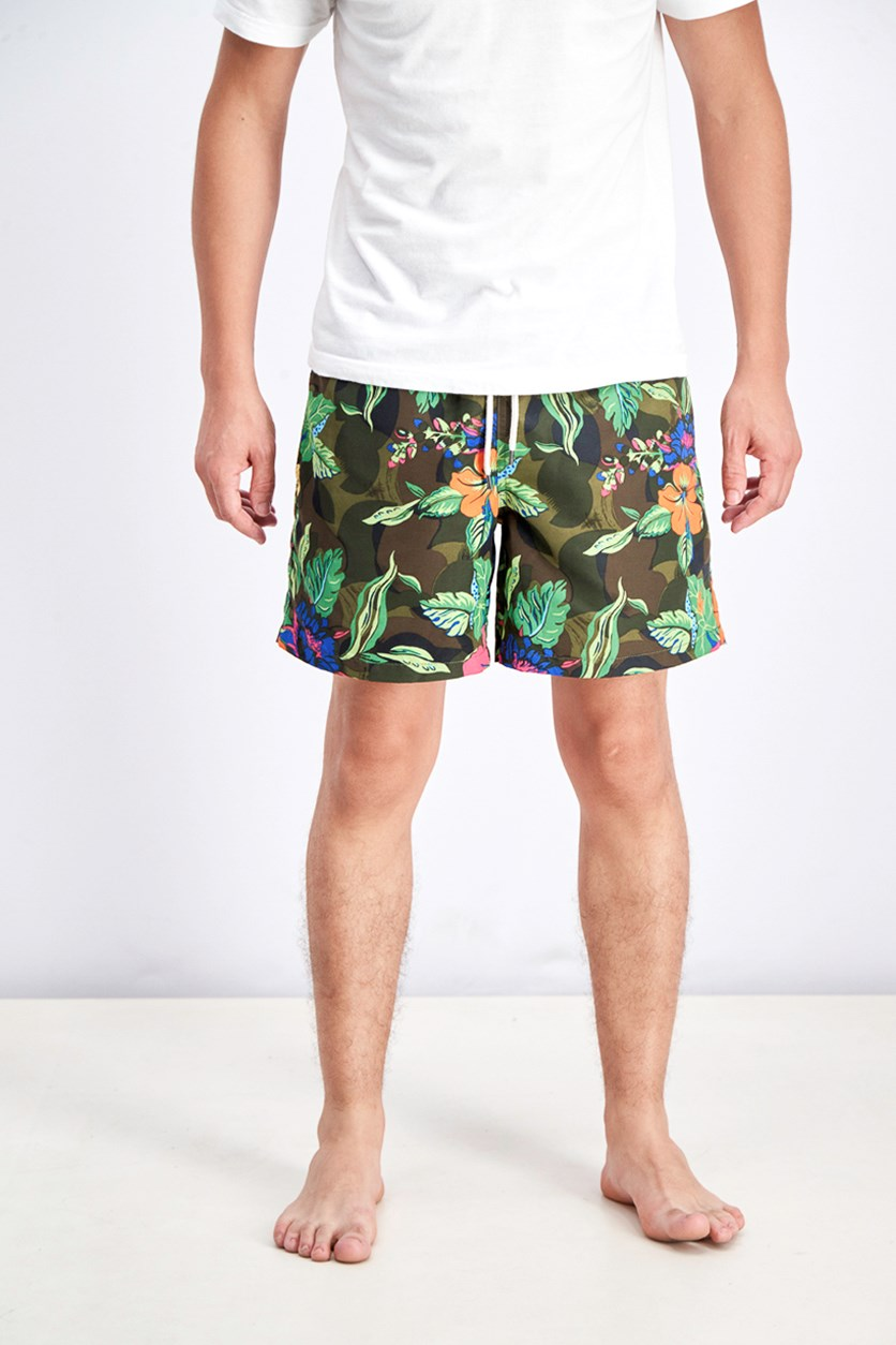 Men's Tropical Swim Trunks, Olive Combo