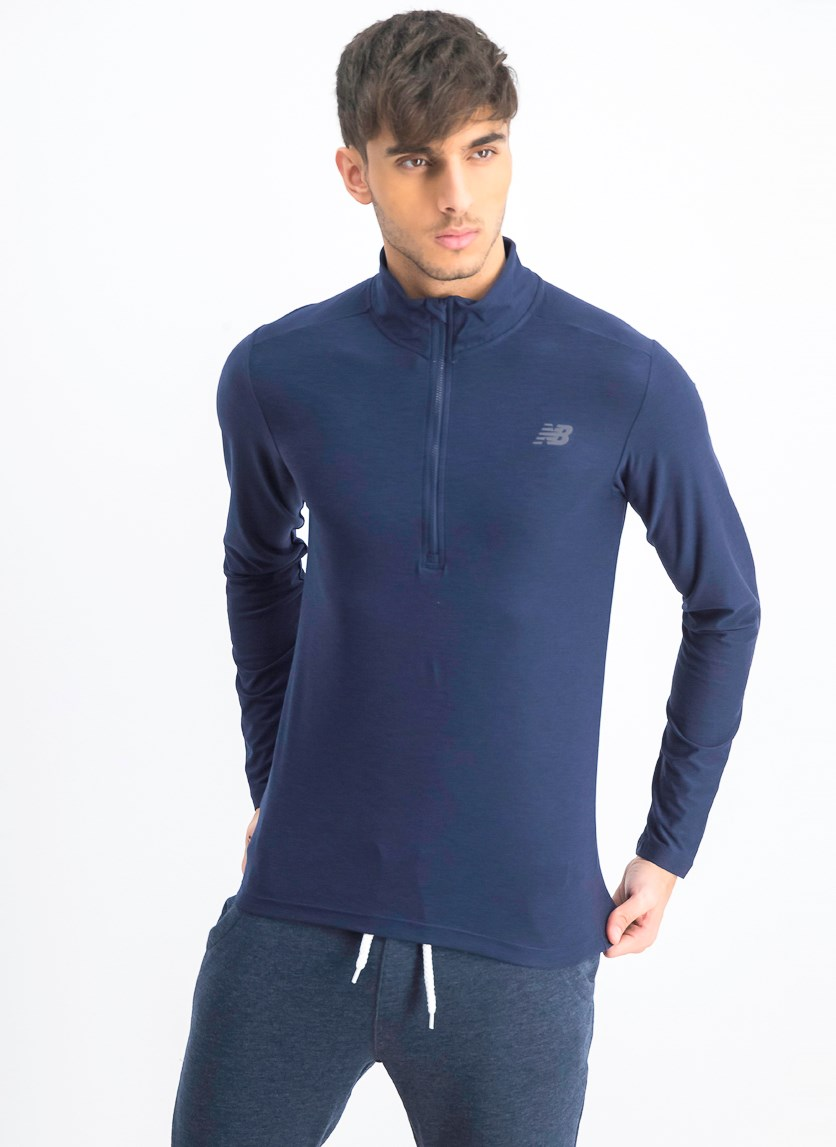 Men's Long Sleeve Mock Neckline Top, Navy Blue