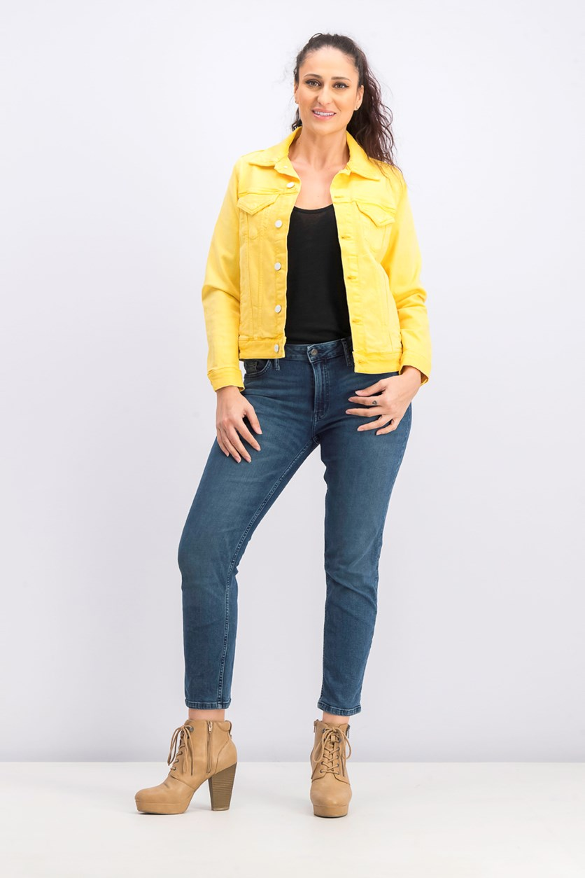 Women's Ingrid Colored Denim Jacket, Sun Dream
