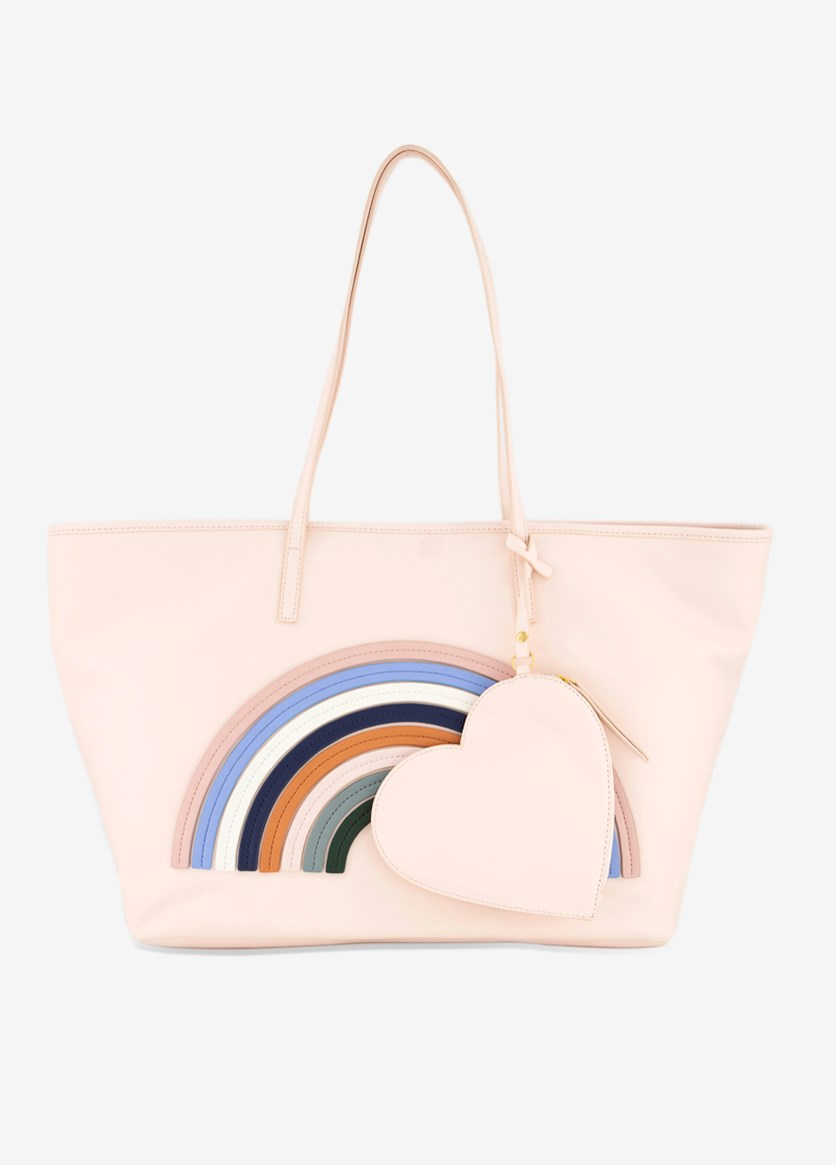 DEAR DREW Women's Rainbow Tote Bag, Pale Pink