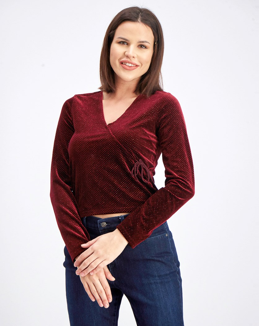 Juniors' Tie-Side Glitter Top, Burgundy