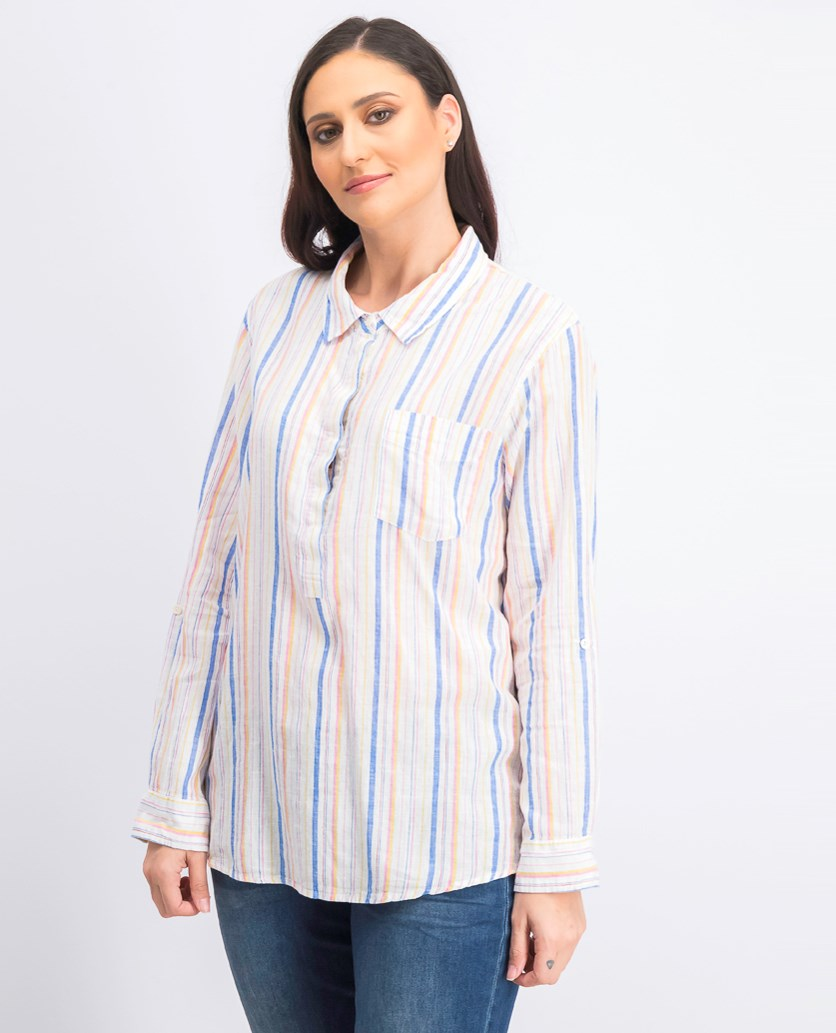 Women's Linen Blend Roll Tab Sleeve Top,White/Pink/Blue