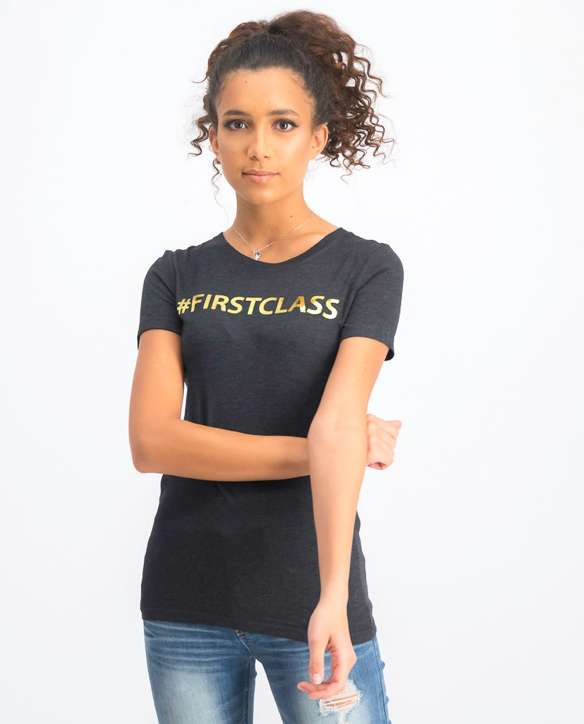 Women's First Class Tee, Charcoal