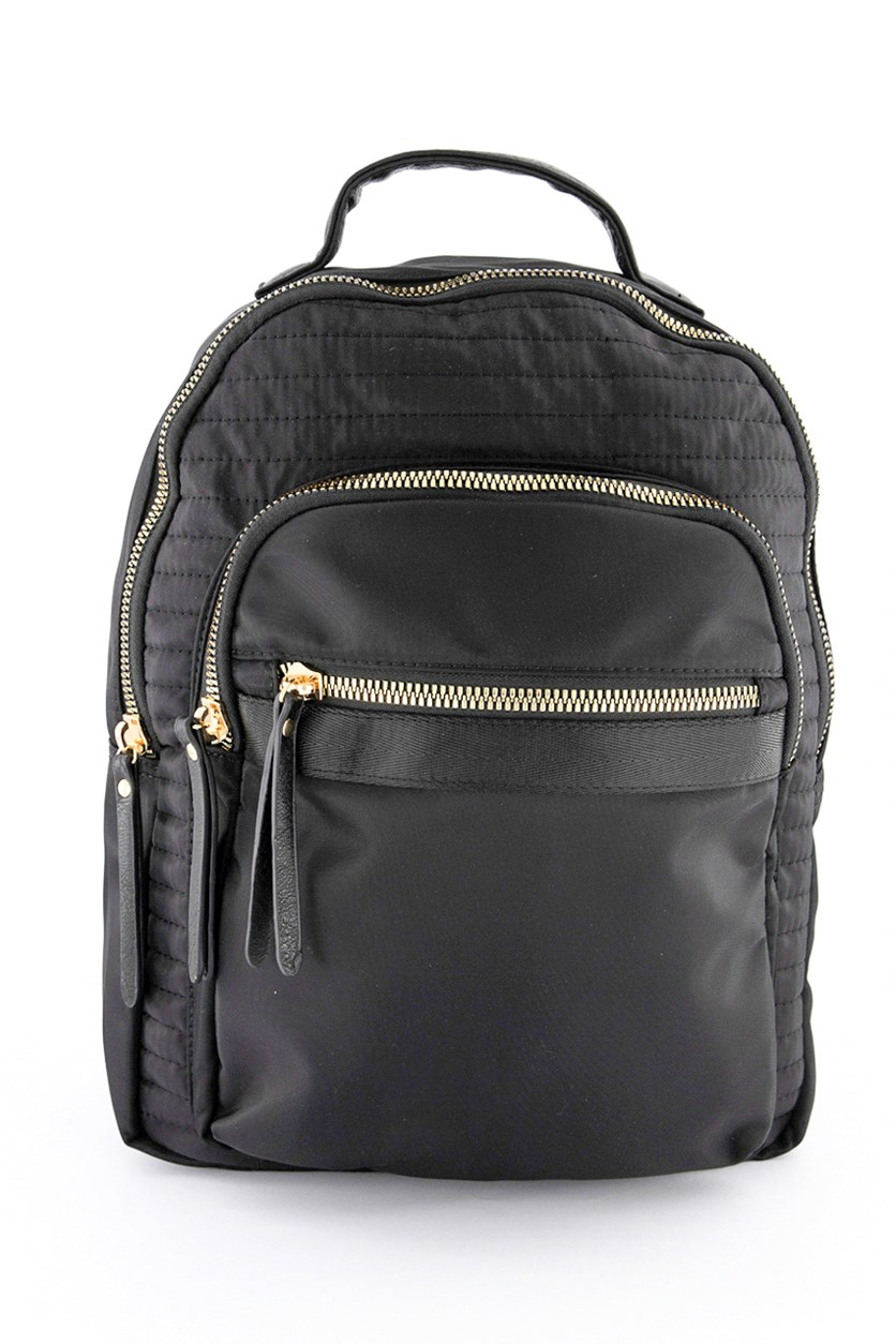 Men's Nylon Horizontal Quilted Backpack, Black
