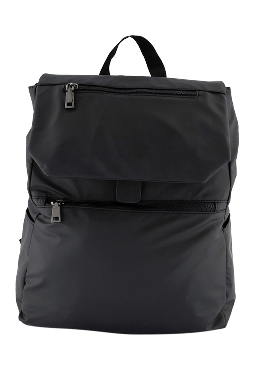 Men's Nylon Flap Backpack, Charcoal Grey