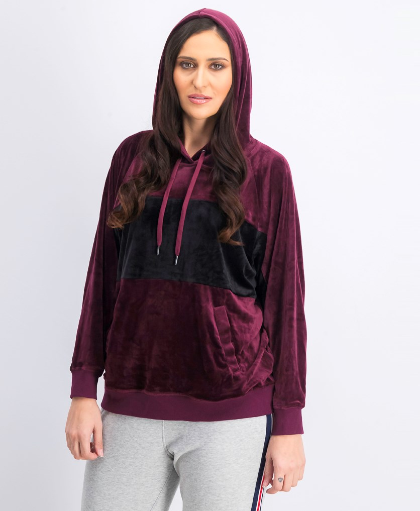 Women's Color Block Hooded Sweater, Sonoma/Black