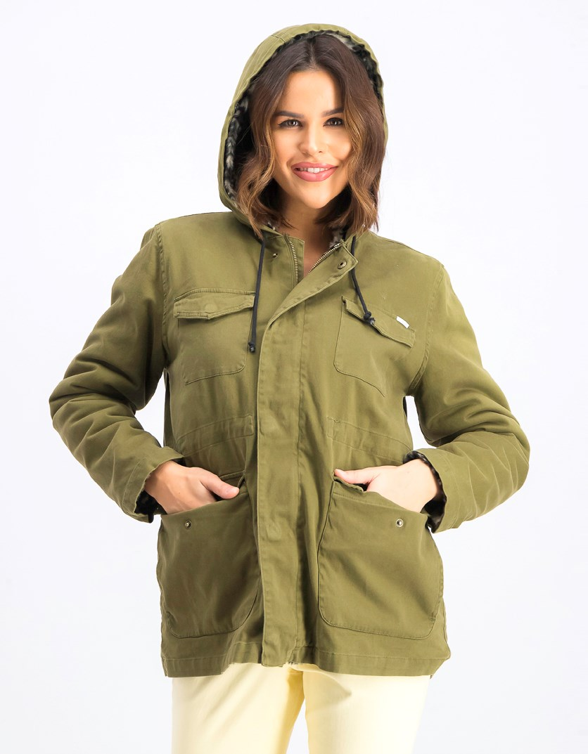 Women's Hoodie Fur Jacket, Olive/Black/Brown