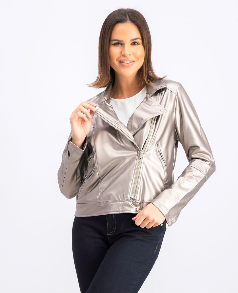 Women's Faux Leather Moto Jacket, Mettalic