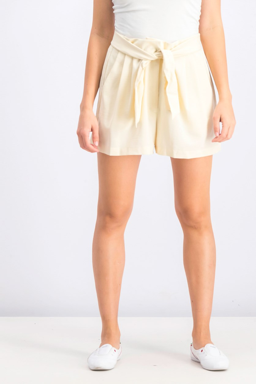Women's Pleated Shorts, Beige