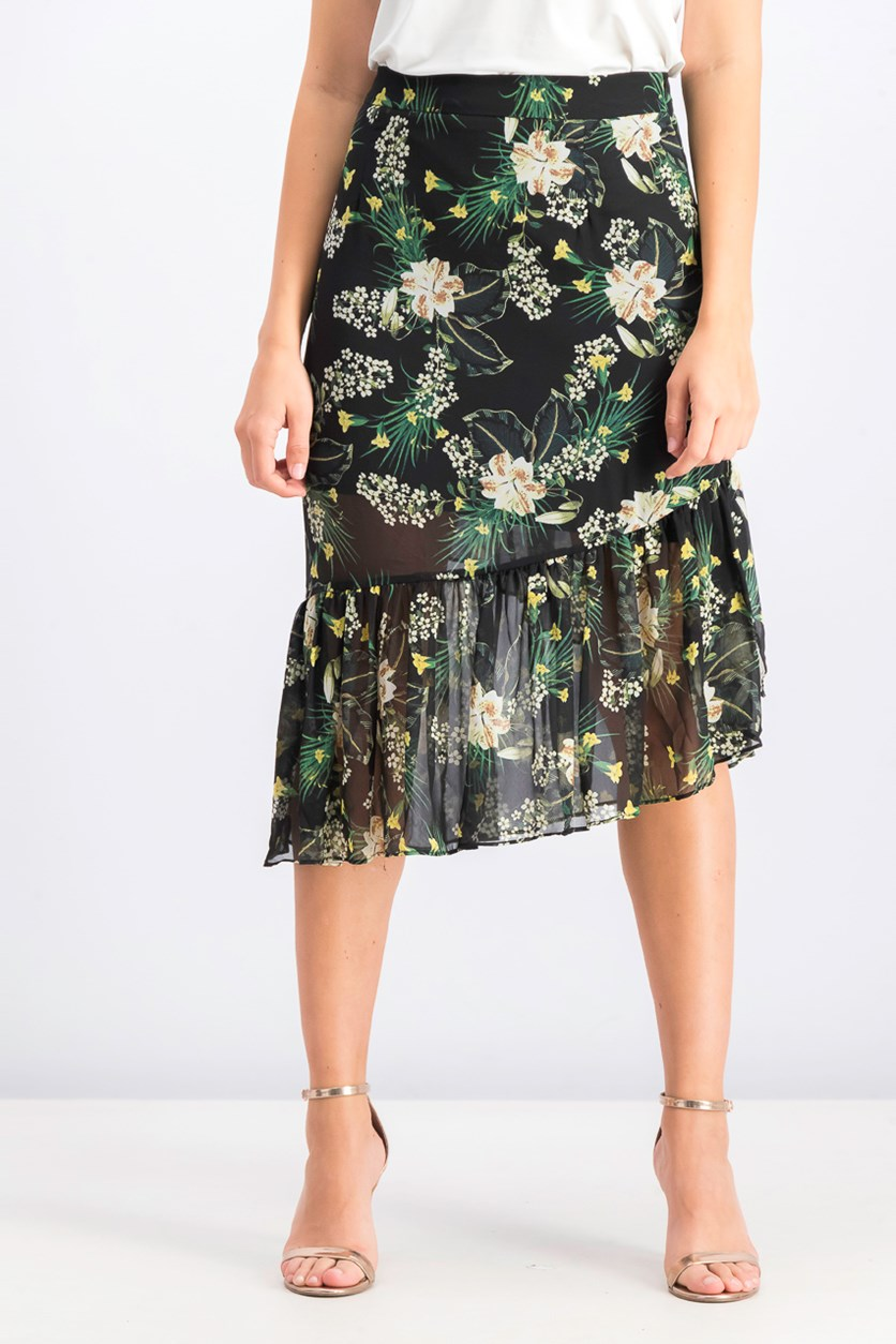 Womens Floral Wrap Skirt, Black Combo
