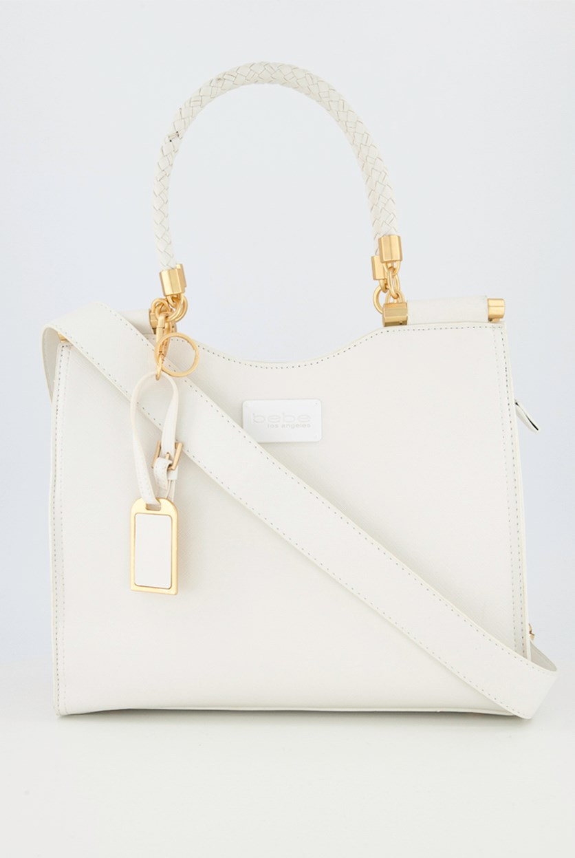 Women's Yolanda Satchel Bags, White/Gold
