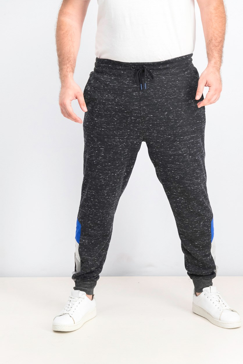Men's Pull On Heather Jogger Pants, Dark Grey/Blue/Silver