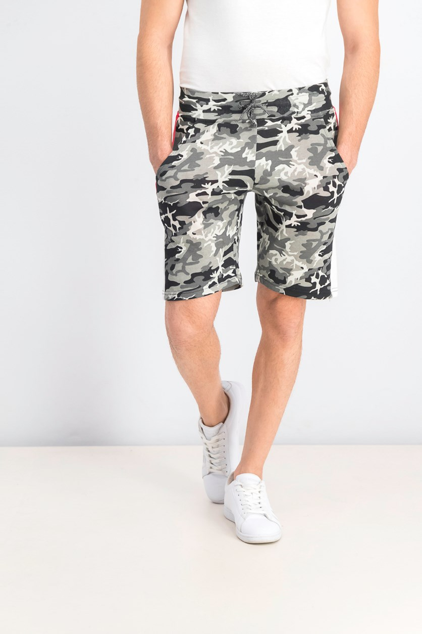 Men's Camo Short, Black/Grey/Red
