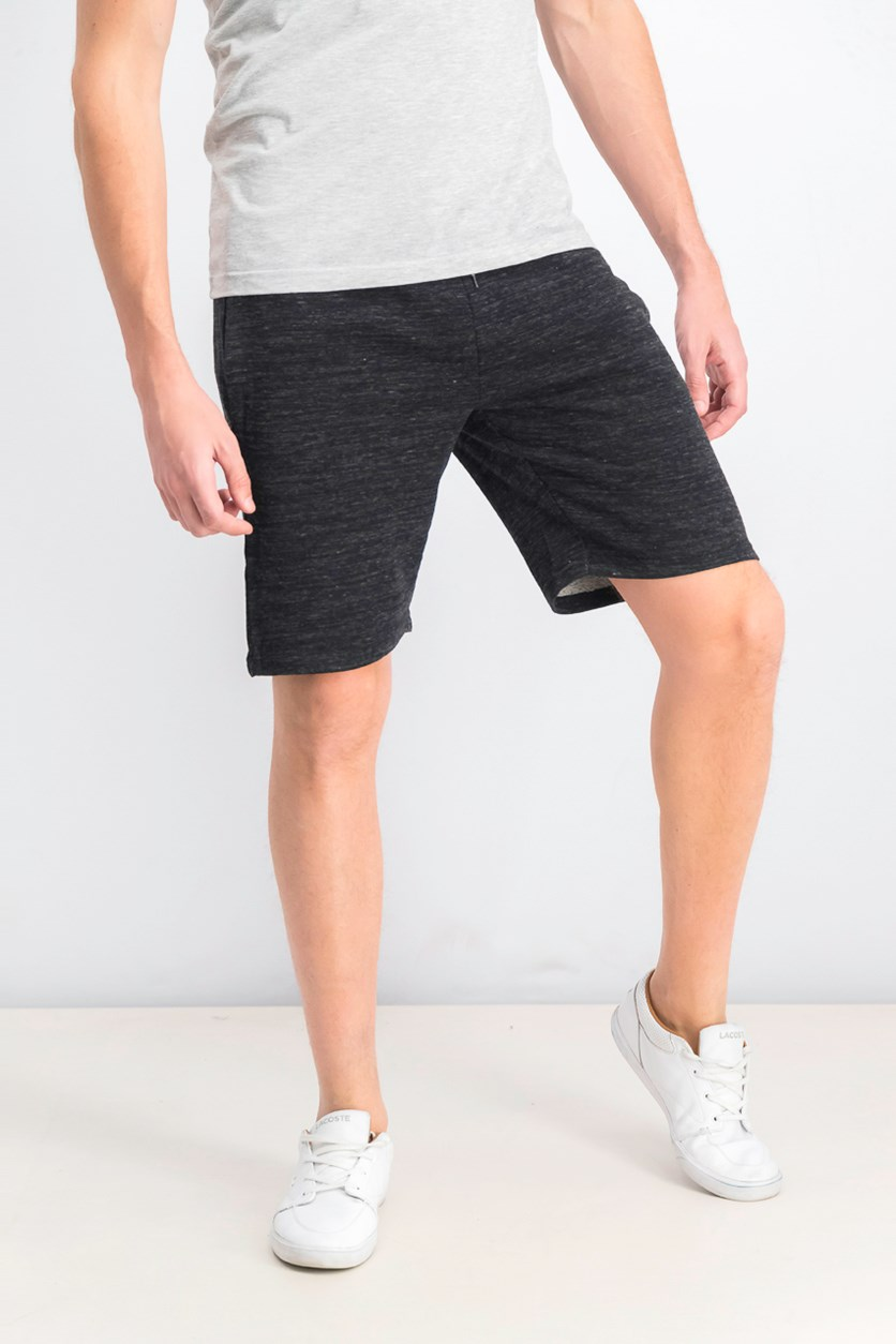 Men's Drawstring Short, Heather Black/Grey/White