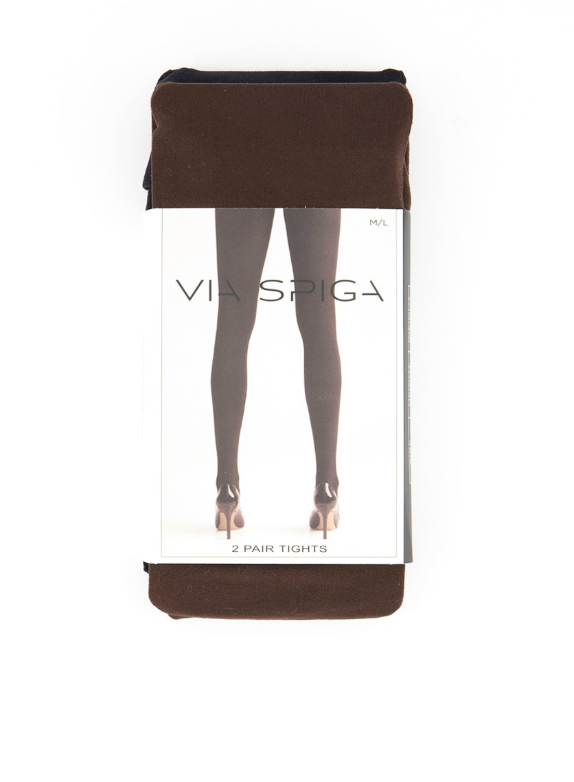 Women's 2 Pairs of Tights, Black/Brown