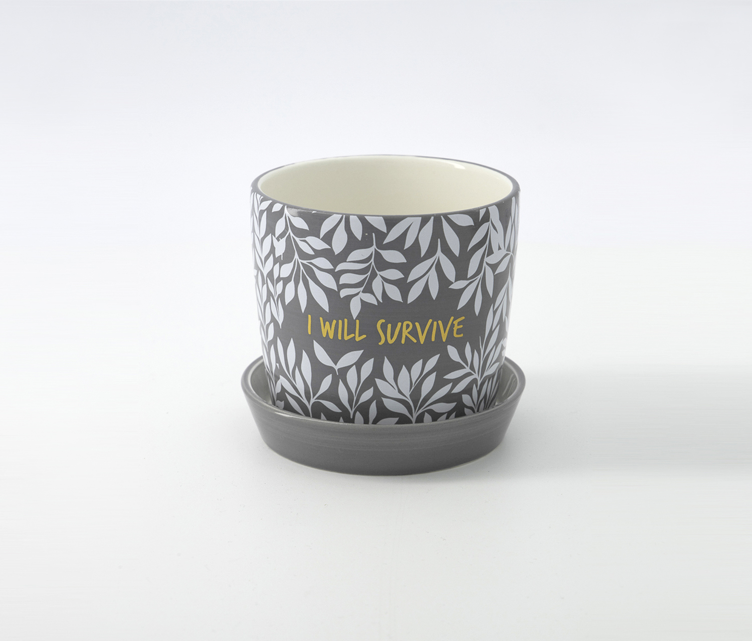 Cylinder With Dish Planter, Grey/White/Gold