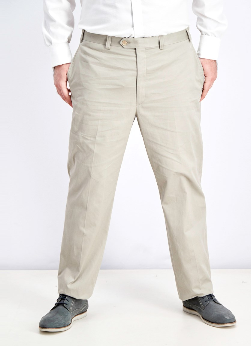 Mens Tan Solid Pants, Putty