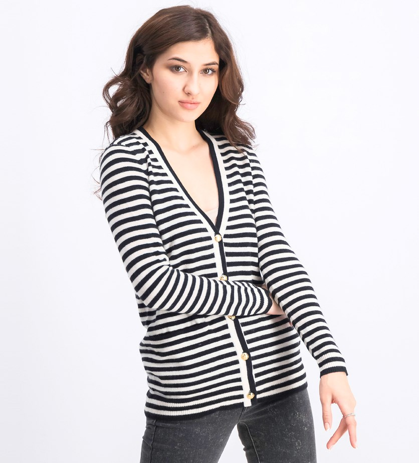 Womens Anneka Striped Cardigan Sweater, Black/Ivory