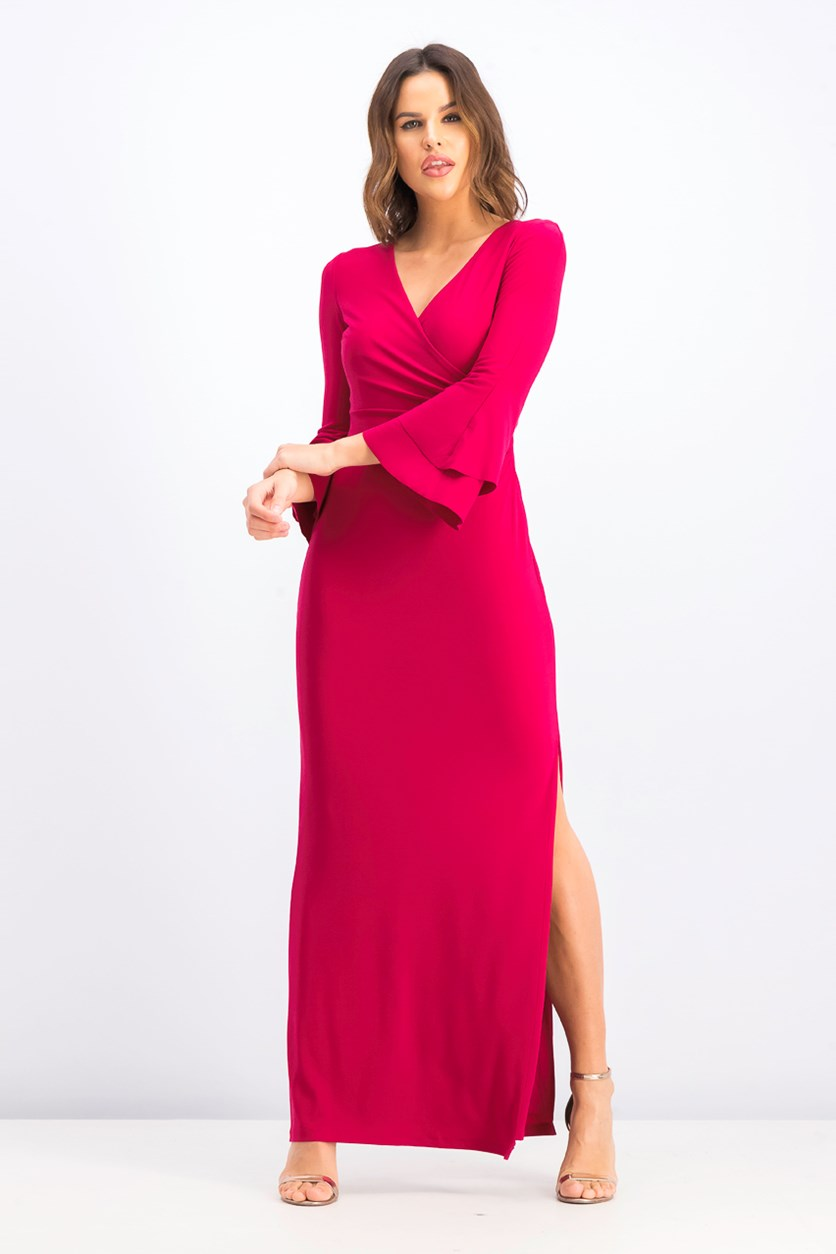 Women's  Flutter-sleeve Gown, Raspberry Rose