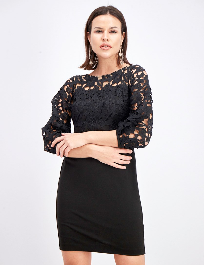Women's Petites Lace Overlay Cocktail Party Dress, Black