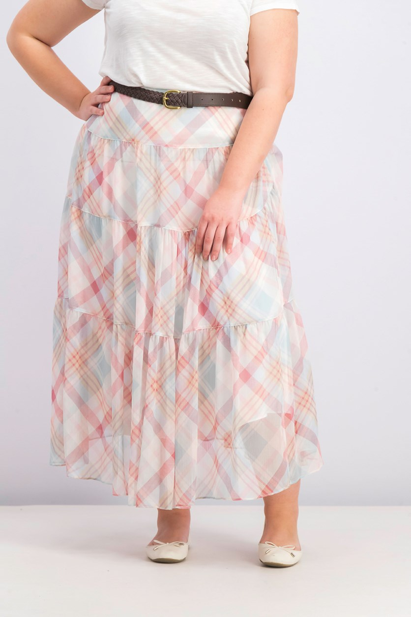 Women's Plaid Tiered Peasant Skirt, Cream