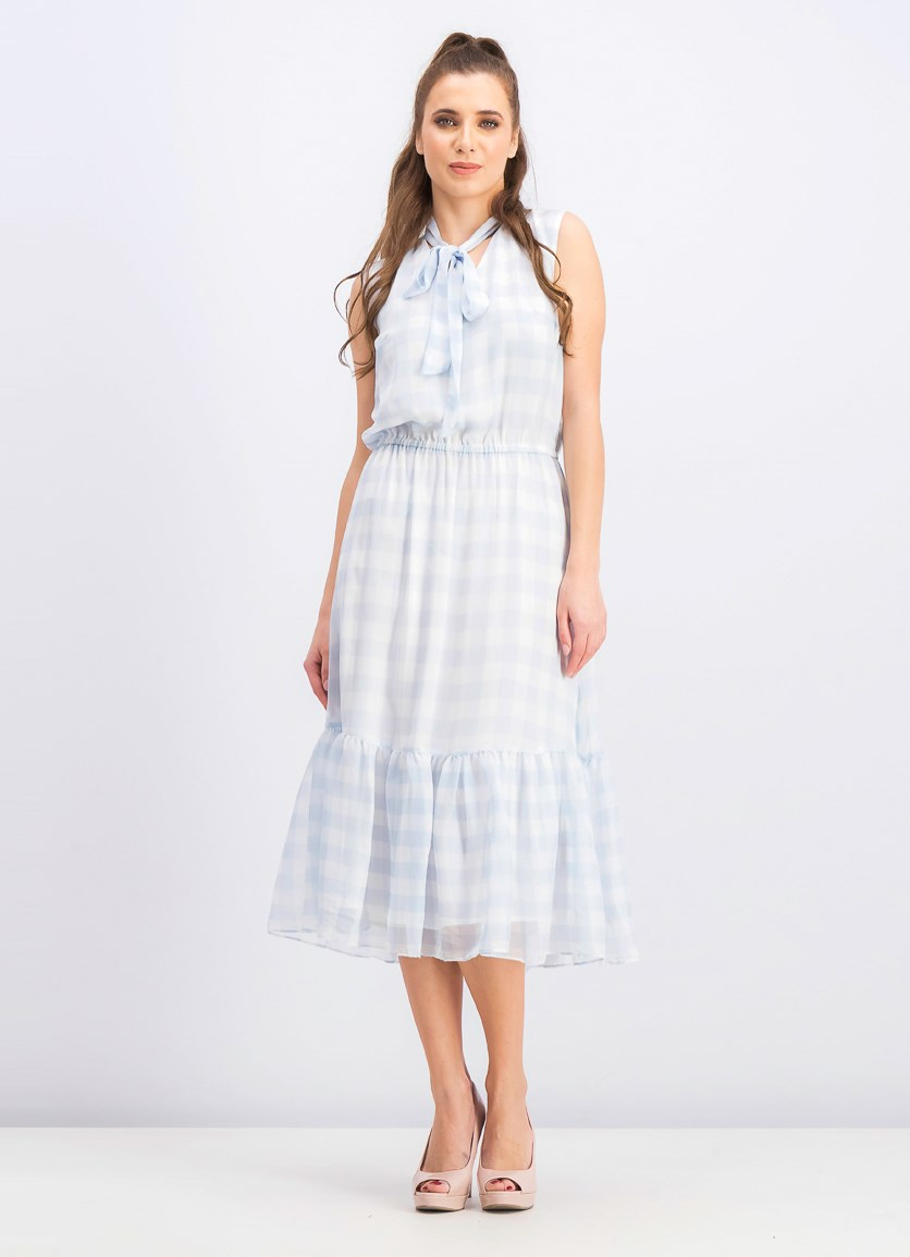 Women's Ruffle Plaid Maxi Dress, White/Blue