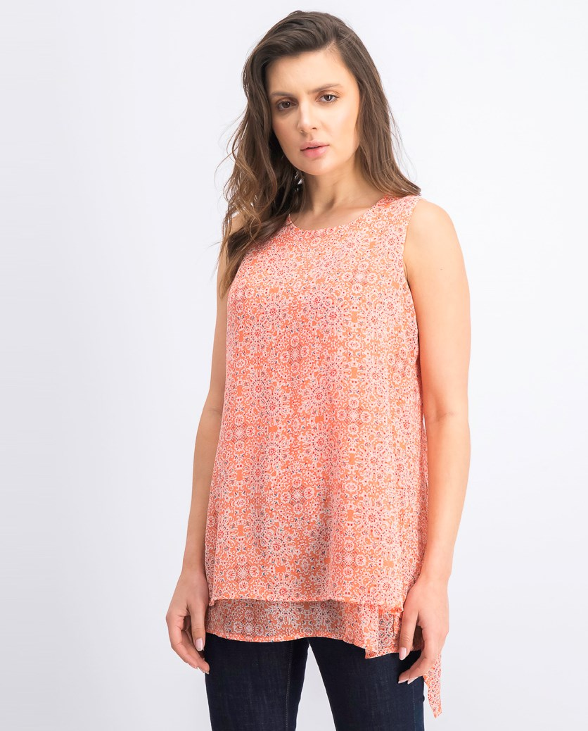 Womens Double Layer Blouse, Coral
