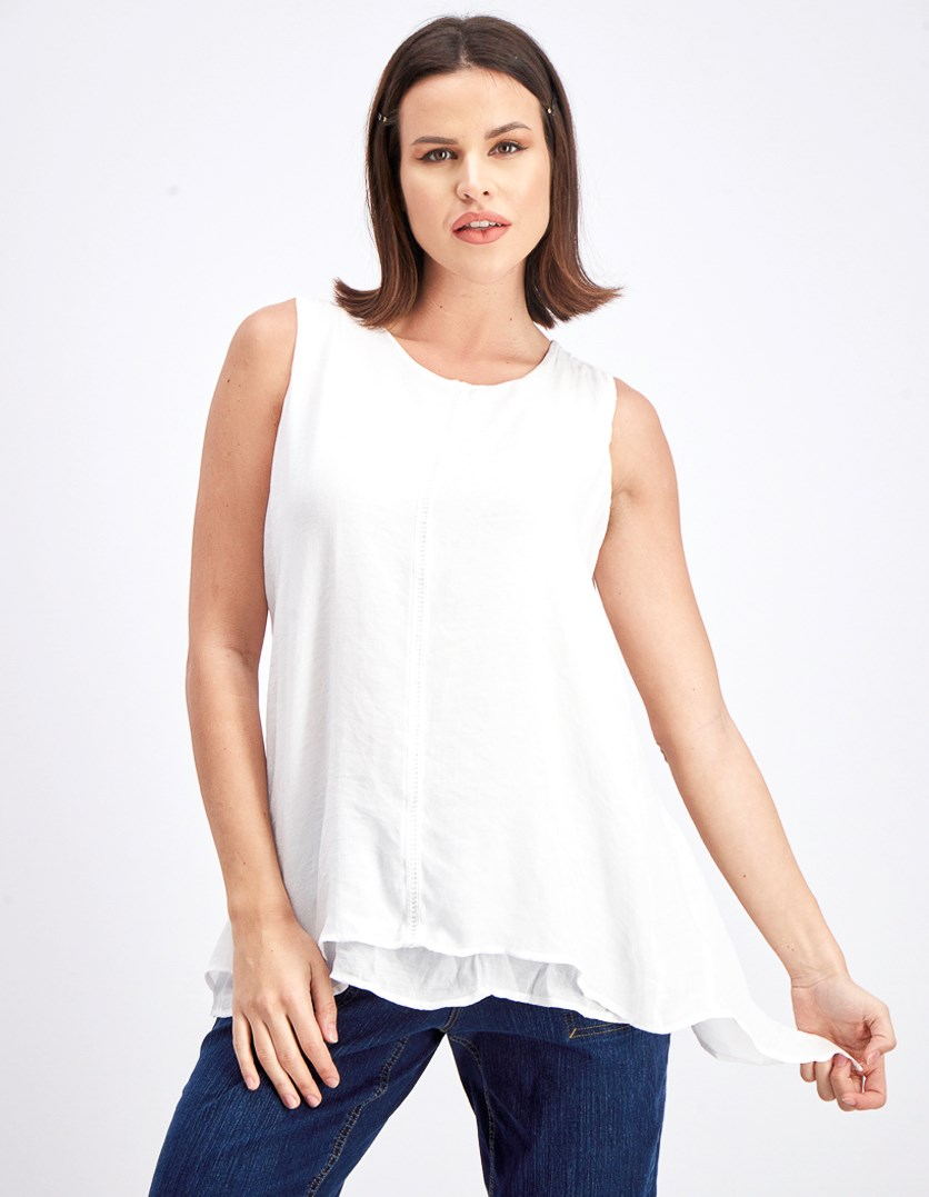 Womens Double Layer Sleeveless Blouse, White