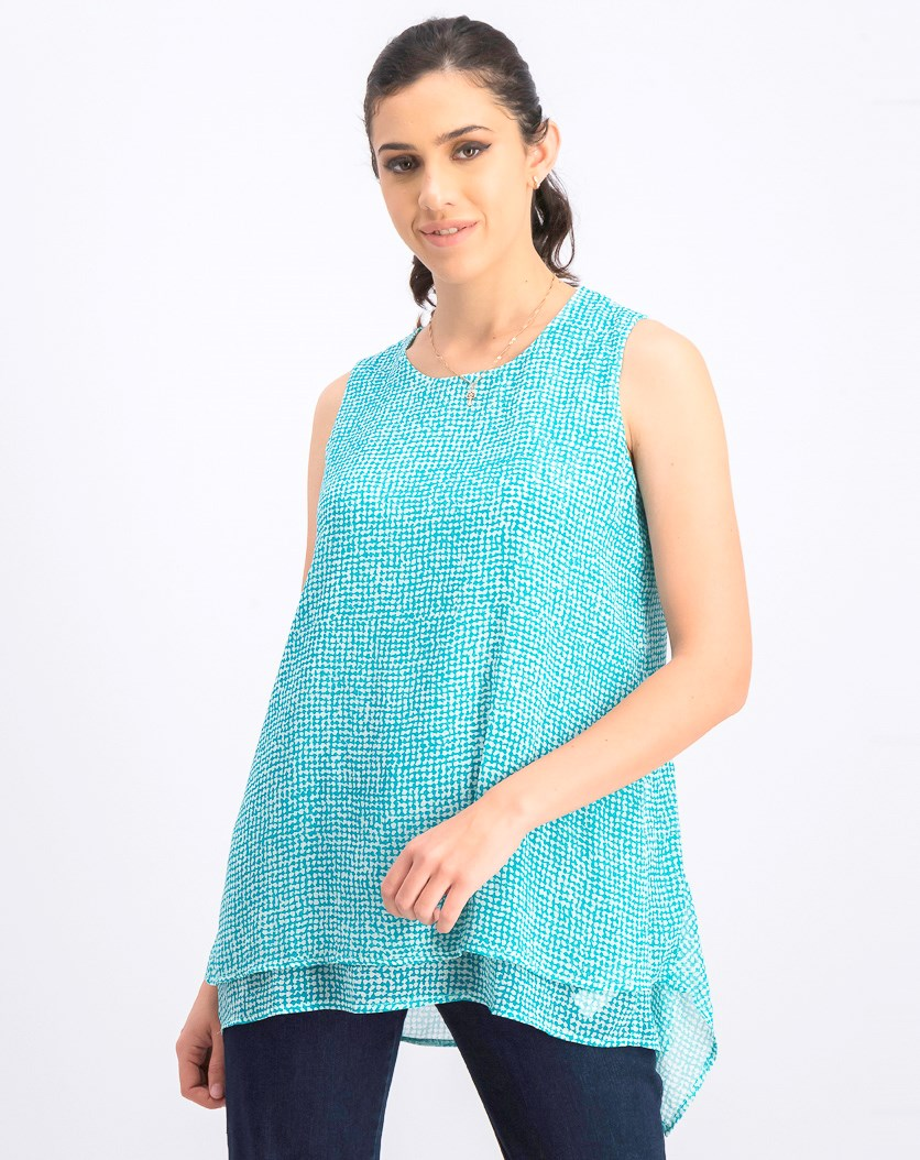 Women's Printed Sleeveless Blouse, Aqua Speckle Grid