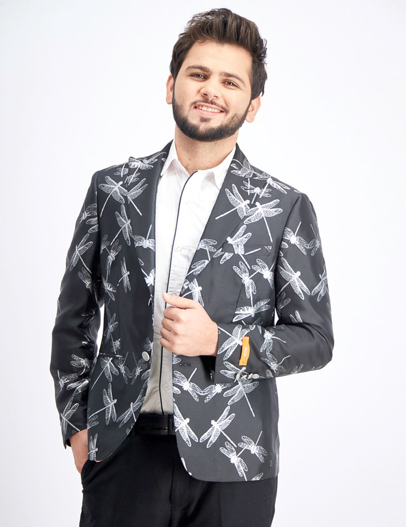 Men's Dragonfly Jacquard Dinner Jacket, Black/Silver