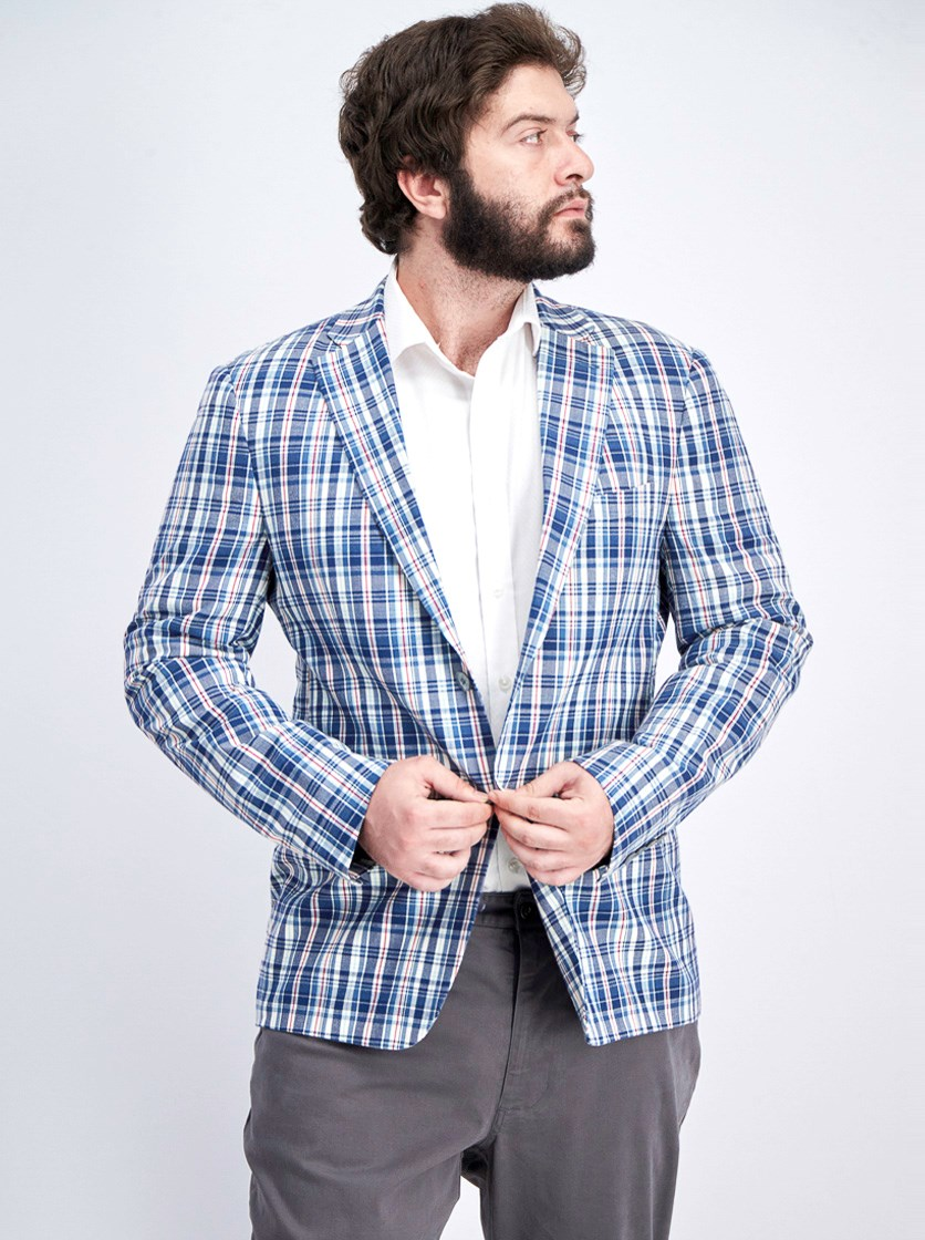 Men's UltraFlex Stretch Madras Plaid Suit Jacket, Blue/White