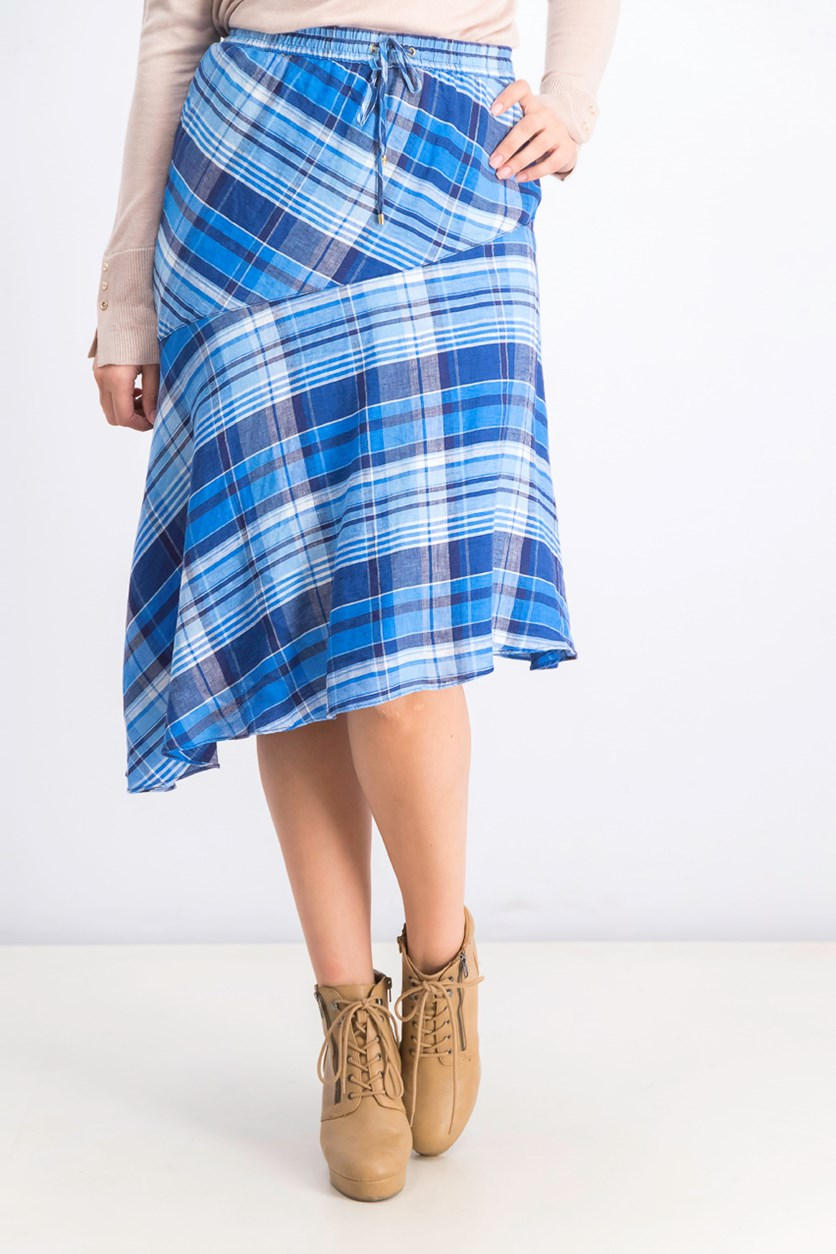 Women's Checkered Asymmetrical Hem Skirt, Blue