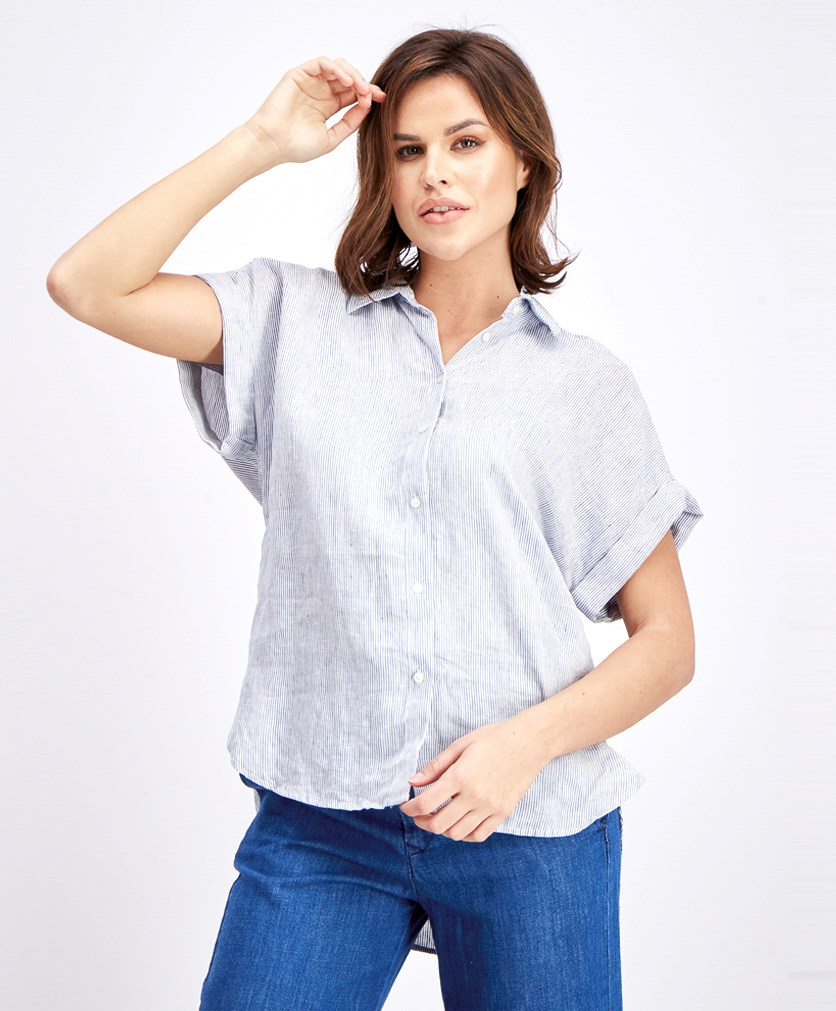 Women's Striped Blouse, Blue/White