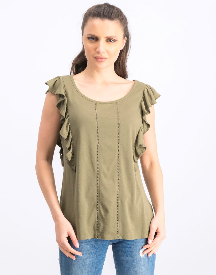 Womens Eyelet Knit Pullover Top, Olive