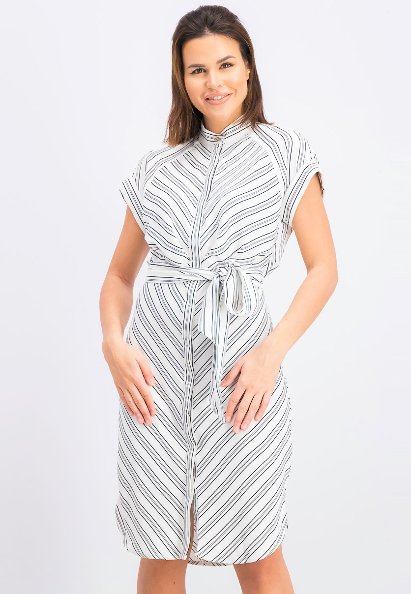 Women's Multi-Directional-Stripe Shirt Dress, White/Black